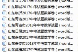 【中考数学】山东省2017-2018中考真题集锦(带答案)